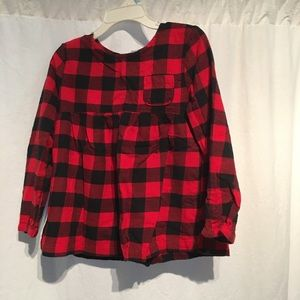 Carters Girls Flannel Shirt/Top Pld Red/Blk SZ 5T